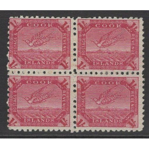 COOK ISLANDS SG20a 1900 1/= DEEP CARMINE MTD MINT BLOCK OF 4