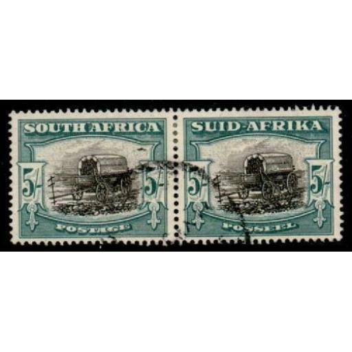 SOUTH AFRICA SG122 1949 5/= BLACK & PALE BLUE-GREEN USED