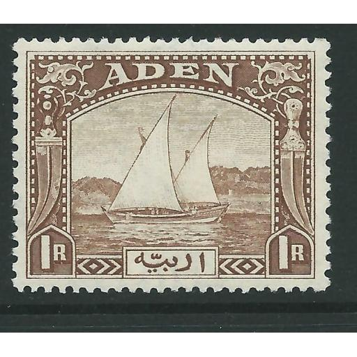ADEN SG9 1937 1r BROWN MTD MINT