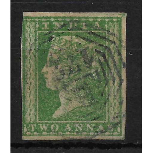 MALAYA STRAITS SETTLEMENTS SGZ64 1854 INDIA 2a GREEN USED IN SINGAPORE