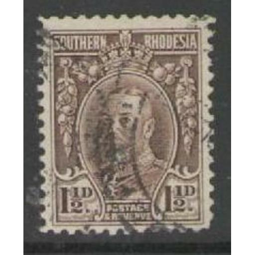 SOUTHERN RHODESIA SG16c 1933 1½d CHOCOLATE p12 USED