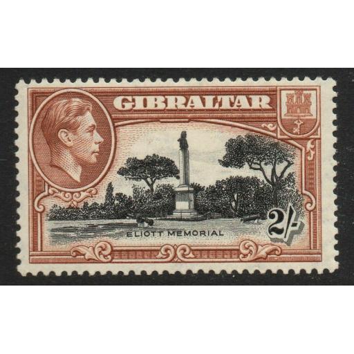 GIBRALTAR SG128a 1938 2/= BLACK & BROWN p13½ MTD MINT
