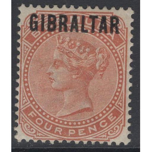 GIBRALTAR SG5 1886 4d ORANGE-BROWN MTD MINT