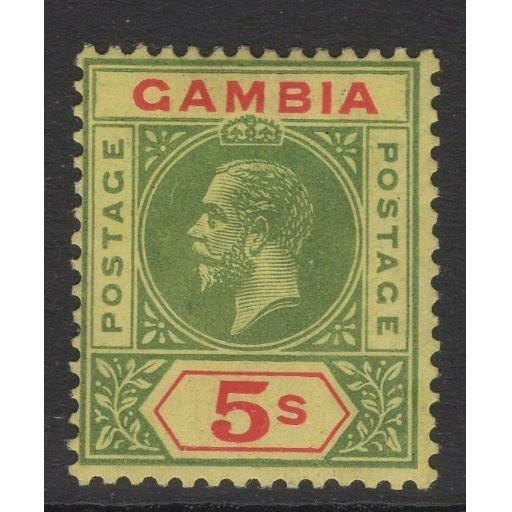GAMBIA SG102 1922 5/= GREEN & RED/PALE YELLOW MTD MINT