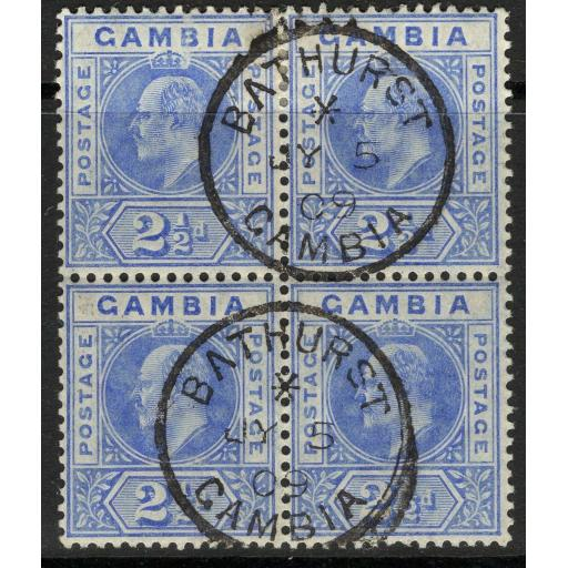 GAMBIA SG60a 1905 2½d BRIGHT BLUE & ULTRAMARINE BLOCK OF 4 FINE USED