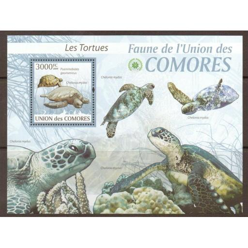 COMORES 2009 TURTLES SHEET MNH
