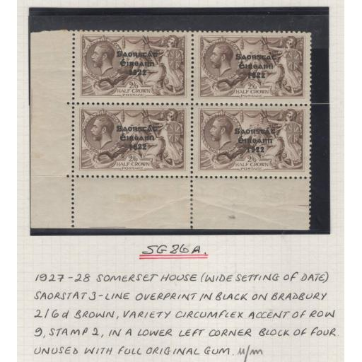 "IRELAND SG86/a 1927 2/6 ONE WITH CIRCUMFLEX OVER ""A"" MNH IN BLOCK OF 4(MTD MARG)"