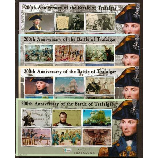 SOLOMON ISLANDS SG1087/110 2005 BATTLE OF TRAFALGAR MNH