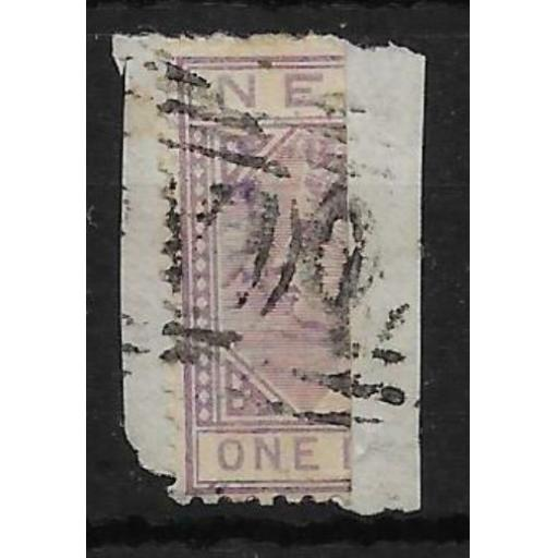 NEVIS SG26a 1883 ½d LILAC-MAUVE BISECTED ON PIECE USED