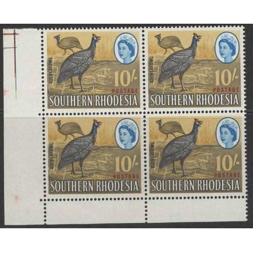 SOUTHERN RHODESIA SG104 1964 10/= DEFINITIVE MNH BLOCK OF 4