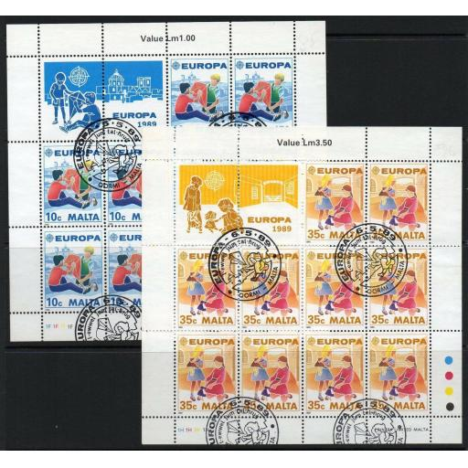 MALTA SG849/50 1989 EUROPA CHILDRENS GAMES SHEETLETS FINE USED
