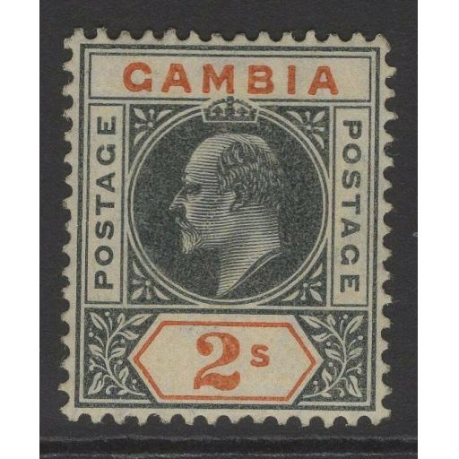GAMBIA SG68 1905 2/= DEEP SLATE & ORANGE MTD MINT