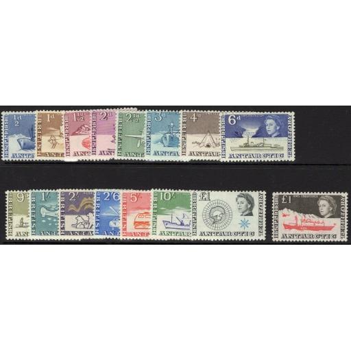 BRITISH ANTARCTIC TERR. SG1/15a 1963-9 DEFINITIVE SET SHIPS MNH