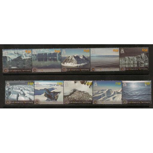 BRITISH ANTARCTIC TERR. SG584/93 2012 GLACIERS & ICE SHEETS MNH