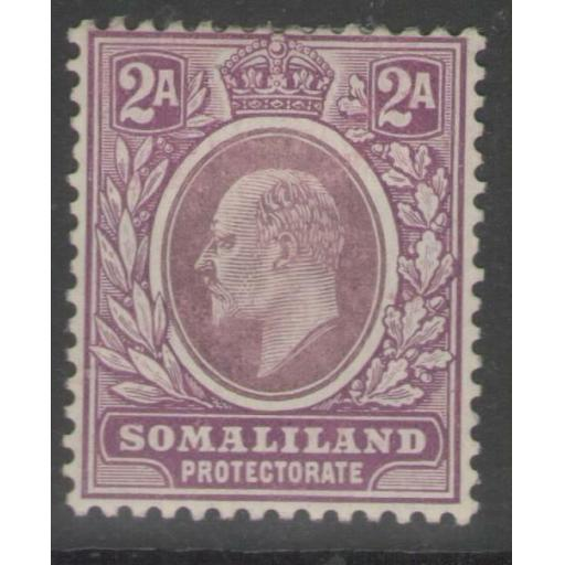 SOMALILAND SG47a 1909 2a DULL & BRIGHT PURPLE CHALKY PAPER MTD MINT