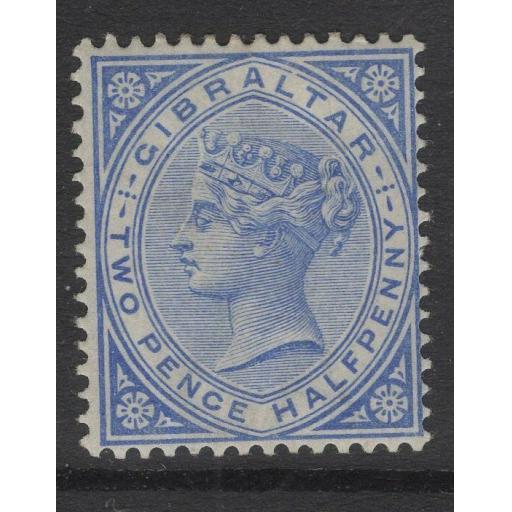 GIBRALTAR SG11 1886 2½d BLUE MTD MINT