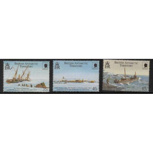 BRITISH ANTARCTIC TERR. SG312/4 2000 SHACKLETON'S TRANS-ANTARCTIC EXPEDITION MNH