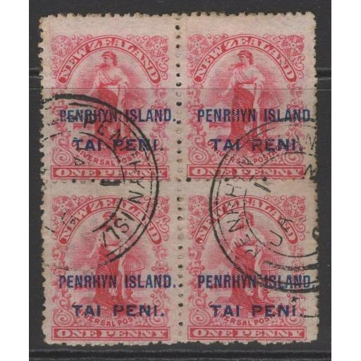 PENRHYN ISLAND SG5 1902 1d CARMINE p14 USED BLOCK OF 4