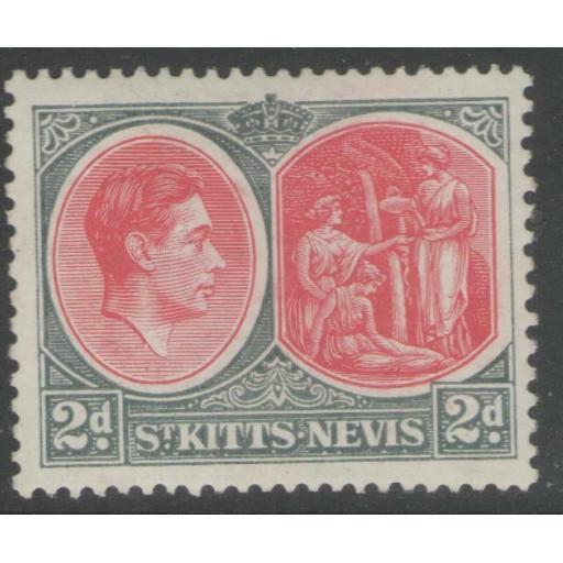 ST.KITTS-NEVIS SG71a 1941 2d CARMINE & DEEP GREY CHALKY PAPER MTD MINT