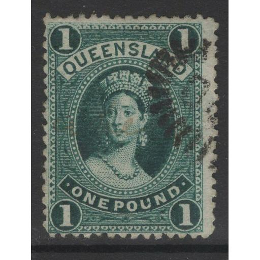 QUEENSLAND SG156 1883 £1 DEEP GREEN USED