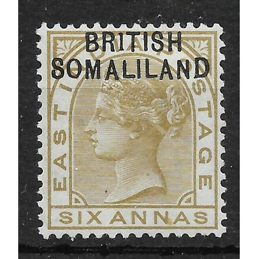 SOMALILAND SG7a 1903 6a OLIVE BISTRE 1 FOR I FLAW MTD MINT