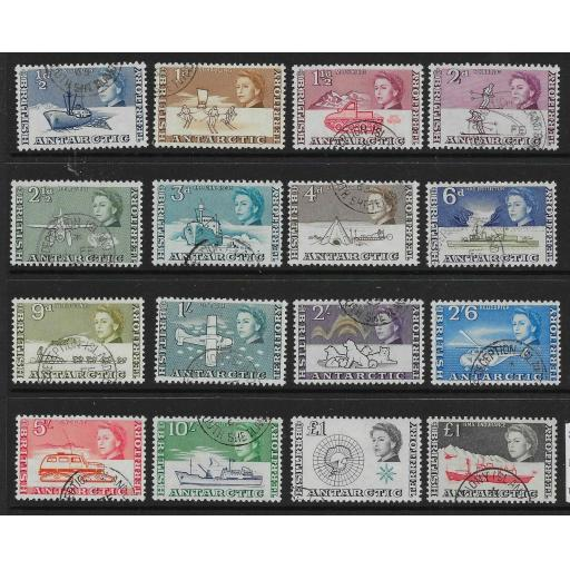 BRITISH ANTARCTIC TERR. SG1/15a 1963-9 DEFINITIVE SET USED