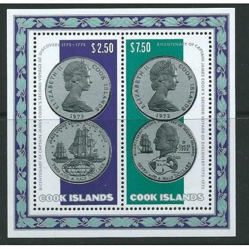 COOK ISLANDS SGMS494 1974 CAPTAIN COOK'S SECOND VOYAGE MNH