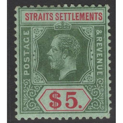 MALAYA STRAITS SETTLEMENTS SG212b 1915 $5 GREEN & RED OLIVE BACK MTD MINT