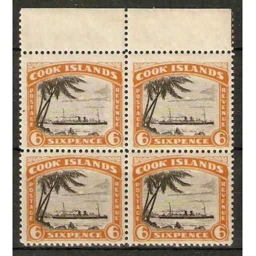 COOK ISLANDS SG104 1932 6d BLACK & ORANGE BLOCK 4 MNH