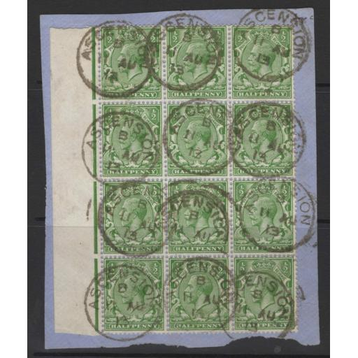 ASCENSION SGZ39 1912 GB ½d GREEN BLOCK OF 12 USED ON PIECE ASCENSION B/11 AU/13