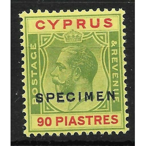 CYPRUS SG117s 1924 90pi GREEN & RED ON YELLOW SPECIMEN MTD MINT