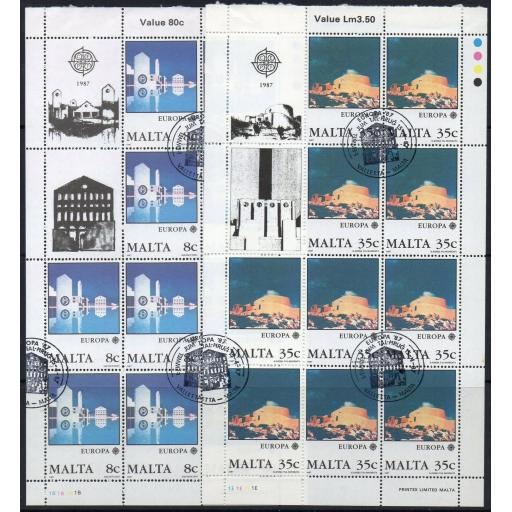 MALTA SG800/1 1987 EUROPA MODERN ARCHITECTURE SHEETLETS FINE USED