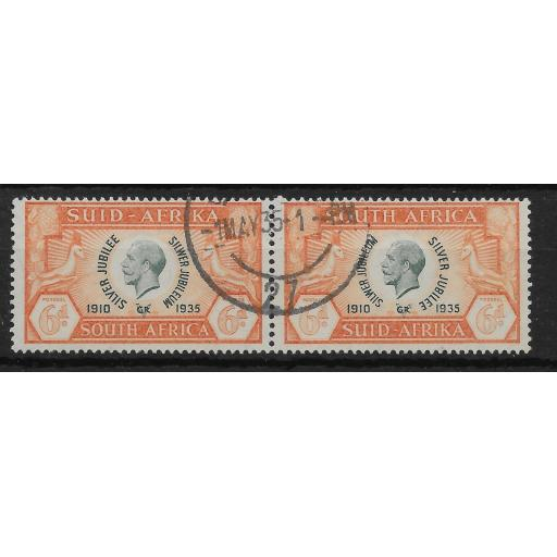 SOUTH AFRICA SG68 1935 SILVER JUBILEE 6d GREEN & ORANGE USED