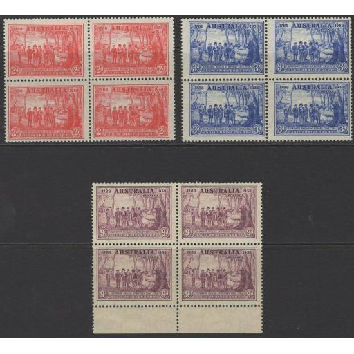 AUSTRALIA SG193/5 1937 NEW SOUTH WALES BLOCKS OF 4 MNH
