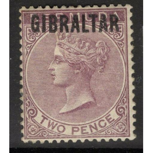 GIBRALTAR SG3 1886 2d PURPLE-BROWN MTD MINT