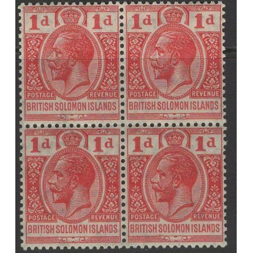 BRITISH SOLOMON IS. SG40 1923 1d SCARLET MNH BLOCK OF 4(1xMTD MINT)