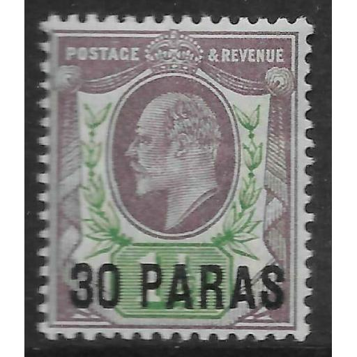 BRITISH LEVANT SG16 1909 30pa ON 1d PALE DULL PURPLE & GREEN MTD MINT