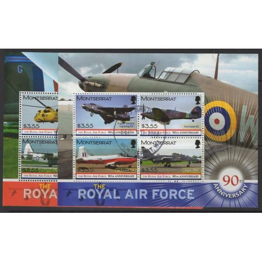 MONTSERRAT SG1406/13 2008 90th ANNIV OF THE ROYAL AIR FORCE FINE USED