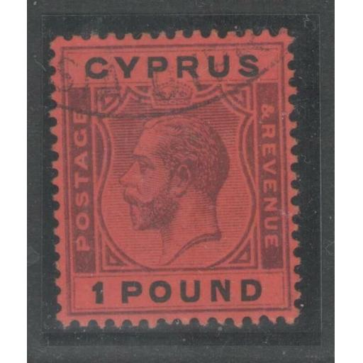 CYPRUS SG102 1924 £1 PURPLE & BLACK/RED FINE USED WITH PART REGISTERED CANCEL