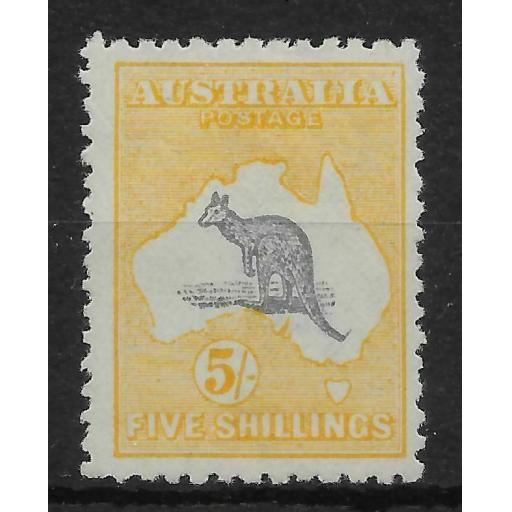 AUSTRALIA SG42c 1918 5/= GREY & PALE YELLOW MTD MINT