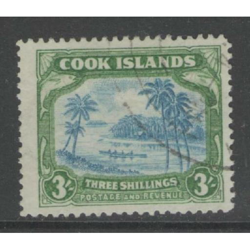 COOK ISLANDS SG129 1938 3/= GREENISH-BLUE & GREEN FINE USED