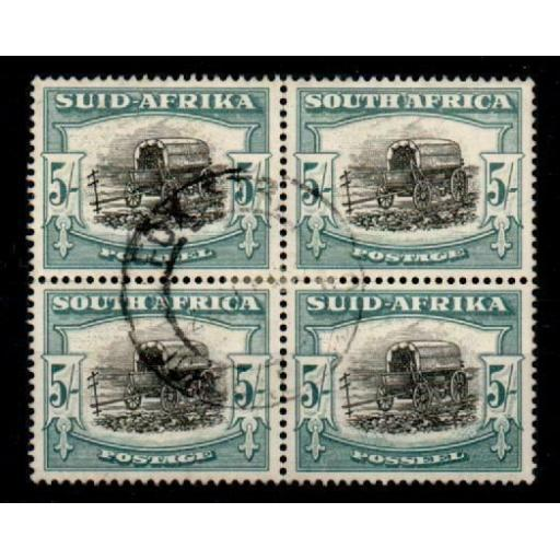 SOUTH AFRICA SG122 1949 5/= BLACK & PALE BLUE-GREEN BLOCK OF 2 PAIRS USED