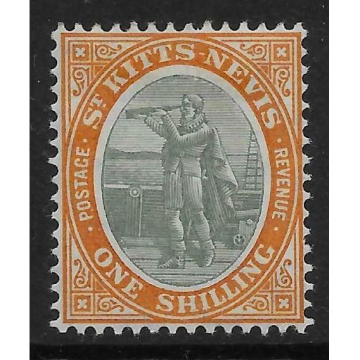 ST.KITTS-NEVIS SG20 1909 1/= GREY-GREEN & ORANGE MTD MINT