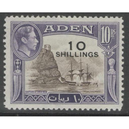 ADEN SG46 1951 10s on 10r SEPIA & VIOLET MTD MINT