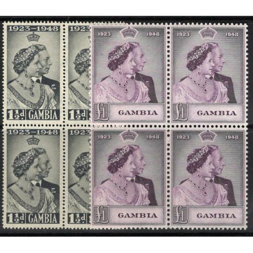 GAMBIA SG164/5 1948 SILVER WEDDING MNH BLOCKS OF 4