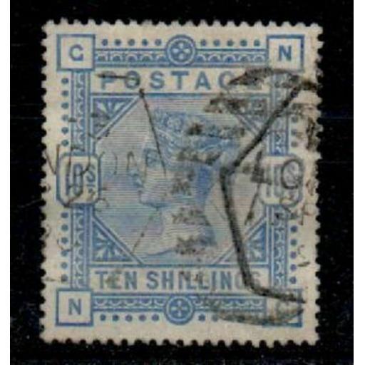 G.B. SG183a 1883 10/= PALE ULTRAMARINE USED