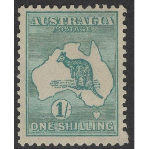 AUSTRALIA SG28 1915 1/- BLUE-GREEN MTD MINT