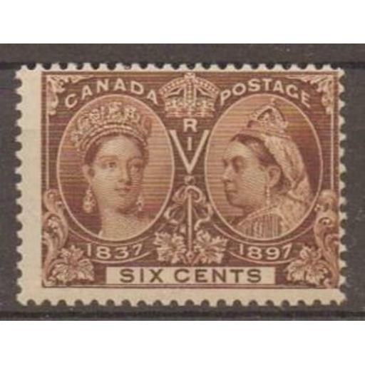 CANADA SG129 1897 JUBILEE 6c BROWN MTD MINT