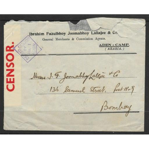 ADEN COVER 13 JULY 1940 TO BOMBAY OPENED BY CENSOR 1