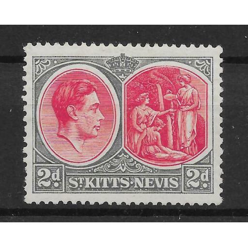 ST.KITTS-NEVIS SG71a 1941 2d CARMINE & DEEP GREY MTD MINT SHORT PERF
